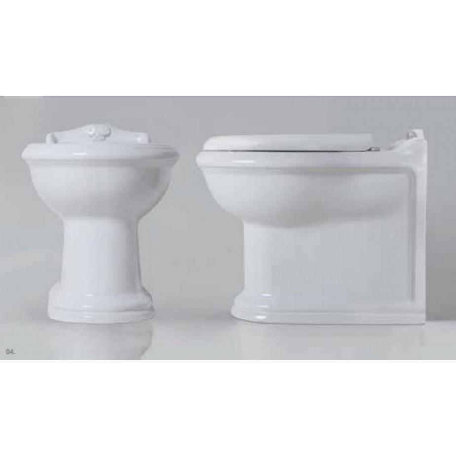 Bidet a terra filomuro monoforo in ceramica bianca stile classico - Jubileaum, Azzurra Ceramica