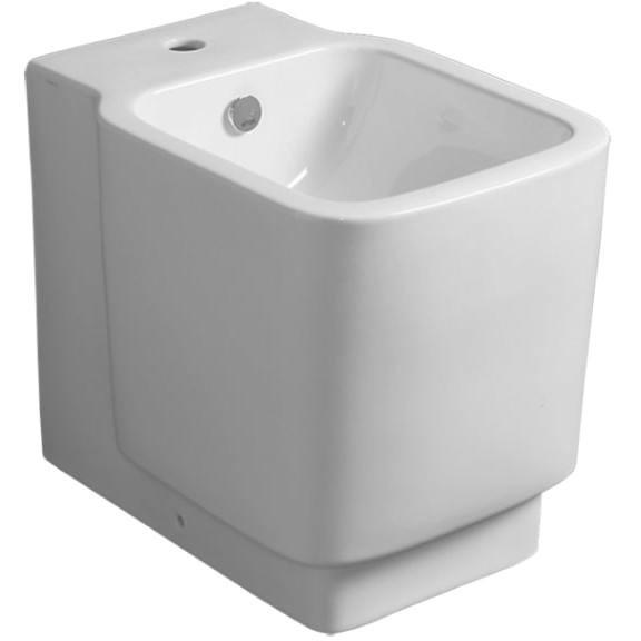 Bidet a terra filomuro squadrato in ceramica opaca bianca - Flow, Simas