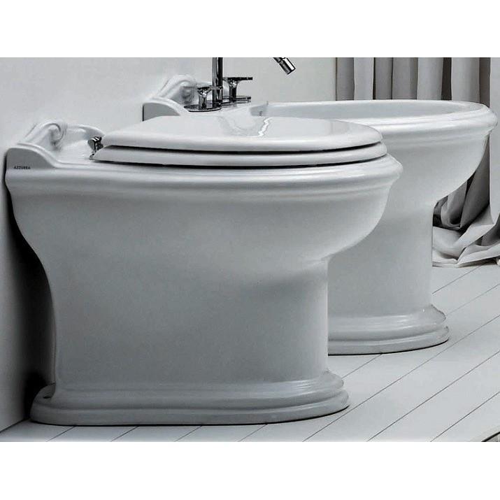 Bidet a terra in ceramica bianca 3 fori stile classico - Jubileaum, Azzurra Ceramica