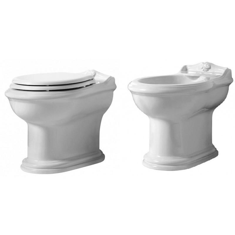 Bidet a terra in ceramica bianca monoforo stile classico - Jubileaum, Azzurra Ceramica