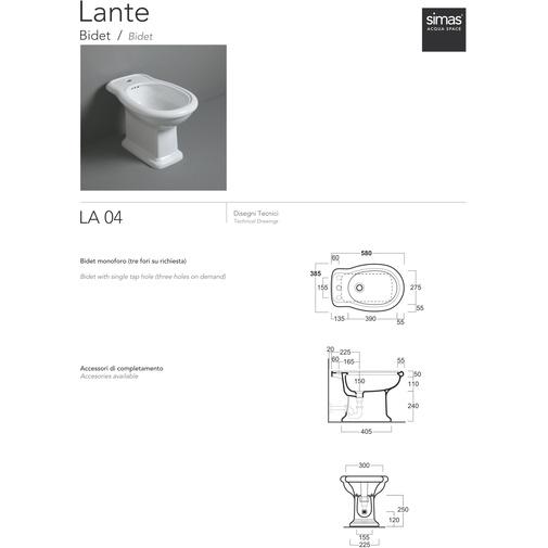 Bidet a terra stile classico in ceramica bianca - Lante, Simas