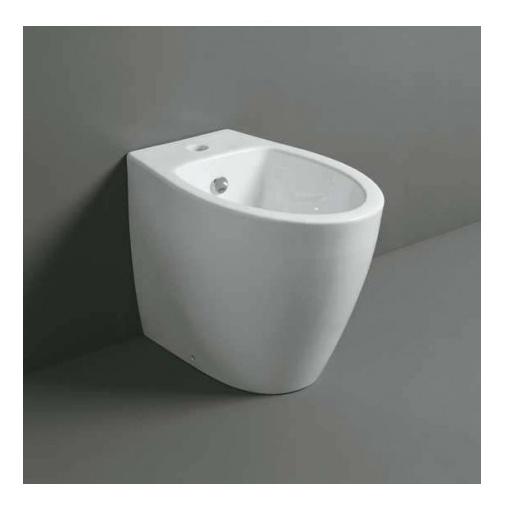 Bidet filomuro a terra design moderno in ceramica bianco lucido  - LFT, Simas