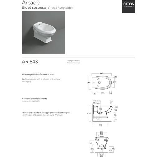 Bidet sospeso classico in ceramica bianca - Arcade, Simas