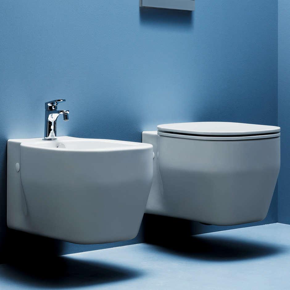 Bidet sospeso design contemporaneo in ceramica bianca - Glaze, Azzurra Ceramica
