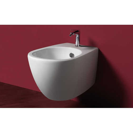 Bidet sospeso monoforo design moderno in ceramica bianca - Vignoni, Simas