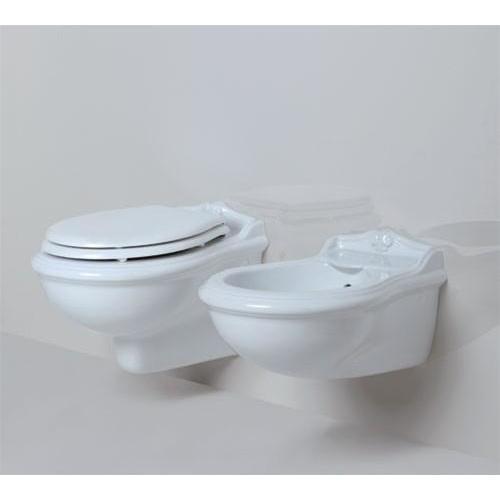 Bidet sospeso monoforo in ceramica bianca stile classico - Jubileaum, Azzurra Ceramica