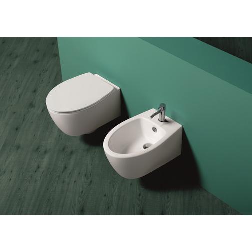 Bidet sospeso monoforo stile moderno in ceramica bianca - LFT, Simas