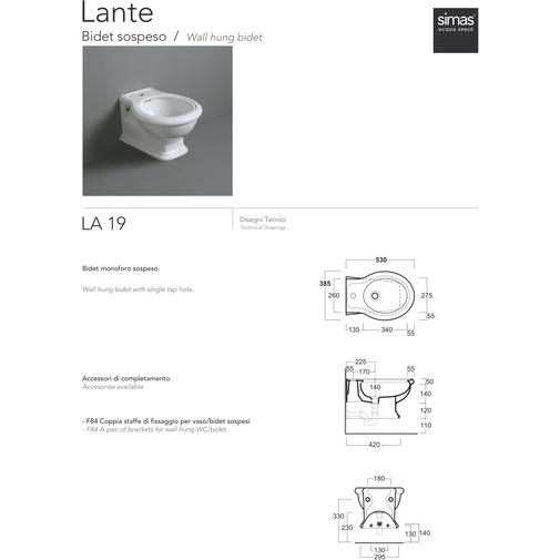 Bidet sospeso stile classico in ceramica bianca - Lante, Simas