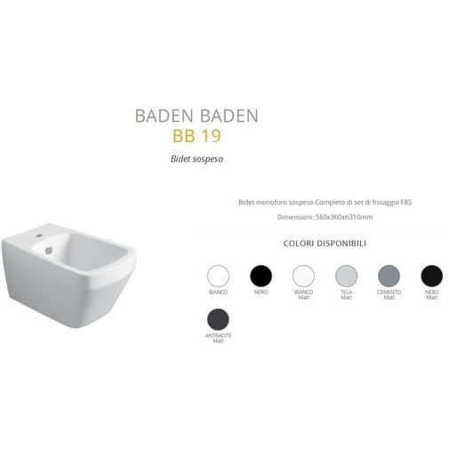 Bidet sospeso stile moderno completo di kit fissaggi cemento opaco - Baden Baden, Simas