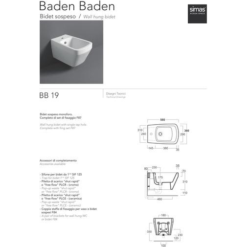 Bidet sospeso stile moderno completo di kit fissaggi in ceramica bianca - Baden Baden, Simas