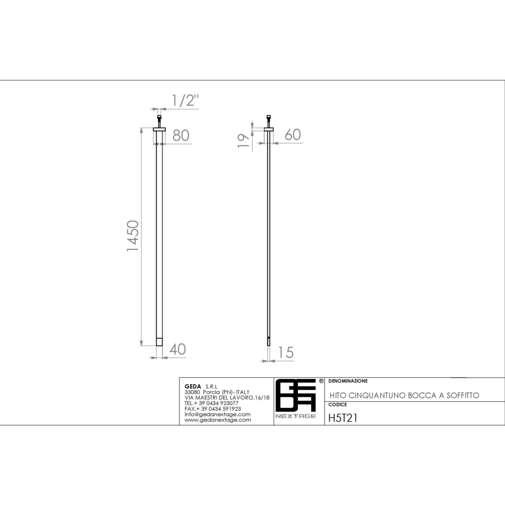 Bocca d'erogazione lavabo da soffitto cromata design moderno 145 cm - Hito Cinquantuno, Geda
