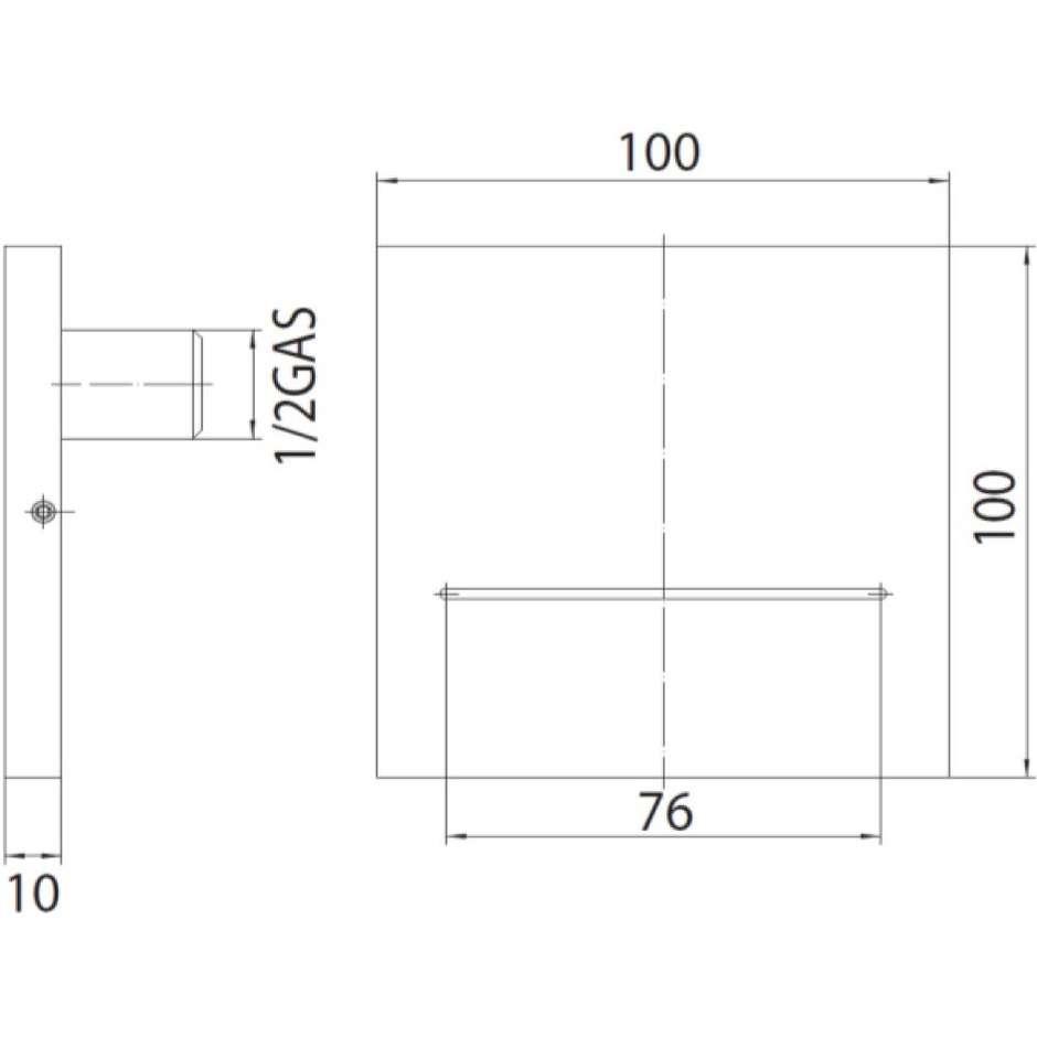 Bocca di erogazione a fessura, cromo, per vasca o doccia, quadrata 10x10 cm - Olè Square, Bossini