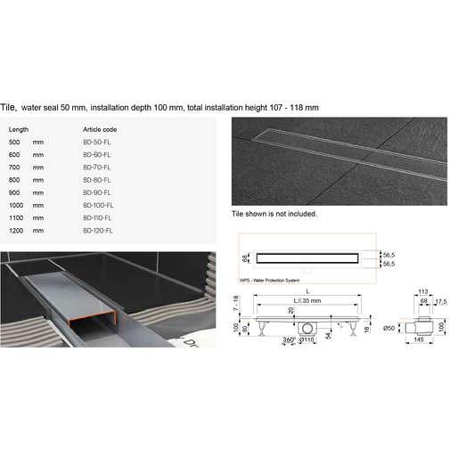 Canaletta per doccia Tekness Basic Drain 80cm a pavimento piastrellabile