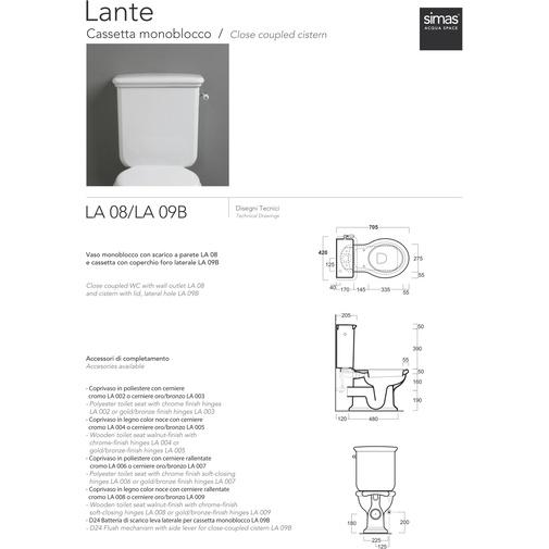 Cassetta monoblocco con foro laterale comprensiva di batteria di scarico - Lante, Simas