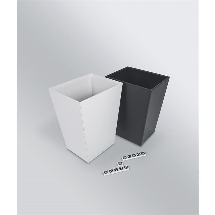 Cestino porta rifiuti da bagno in ecopelle nera - Black & White, Colombo Design