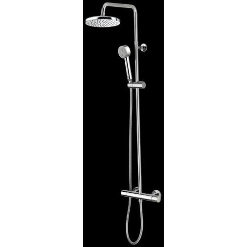 Colonna doccia a muro con doccia saliscendi e miscelatore, soffione rotondo 20 cm, cromo - Oki, Bossini