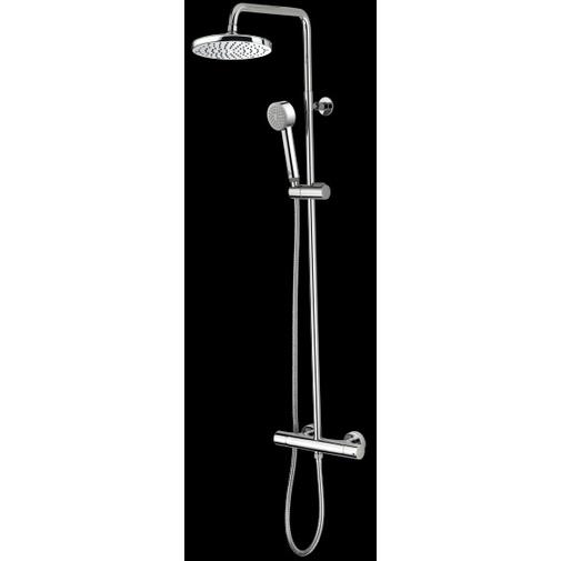 Colonna doccia a muro con doccino saliscendi miscelatore termostatico, soffione rotondo 20 cm, cromo - Oki, Bossini