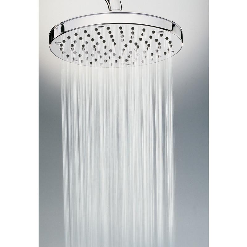 Colonna doccia a muro con soffione rotondo 20 cm ed asta saliscendi, ingresso acqua alto - Oki Renovation, Bossini