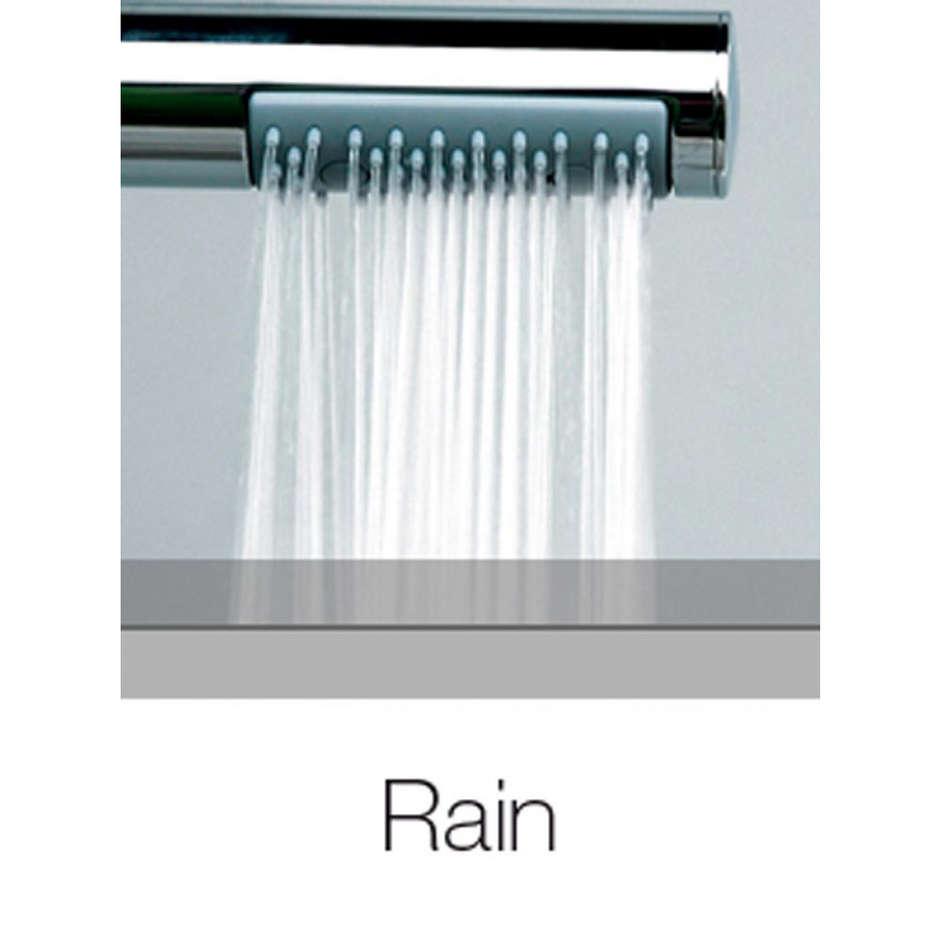 Colonna doccia a muro con soffione rotondo 20 cm ed asta saliscendi, ingresso acqua basso - Oki Renovation, Bossini