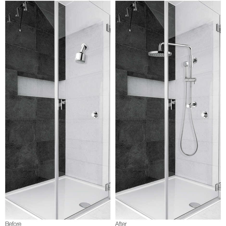 Colonna doccia a muro con soffione rotondo diametro 20 cm, e doccetta saliscendi, altezza 85 cm - Gio Renovation, Bossini