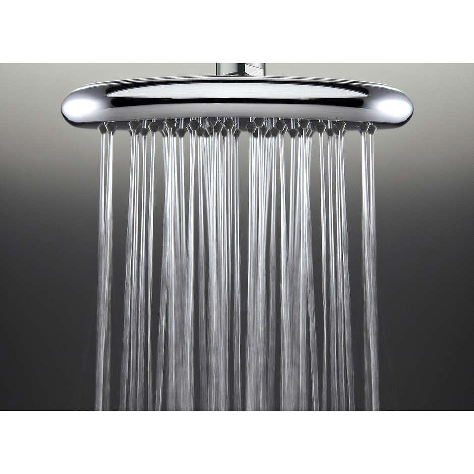 Colonna doccia a muro in stile moderno, soffione rotondo 21 cm con doccetta 2 funzioni e miscelatore termostatico, flessibile antitorsione - Agua, Bossini