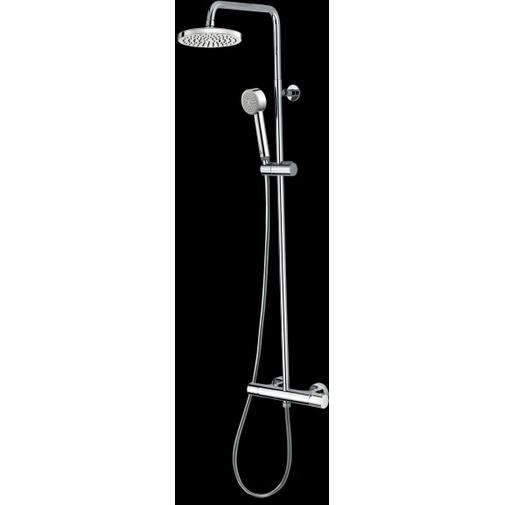 Colonna doccia a muro in stile moderno, soffione rotondo 25 cm con doccetta, miscelatore e flessibile antitorsione - Elios, Bossini