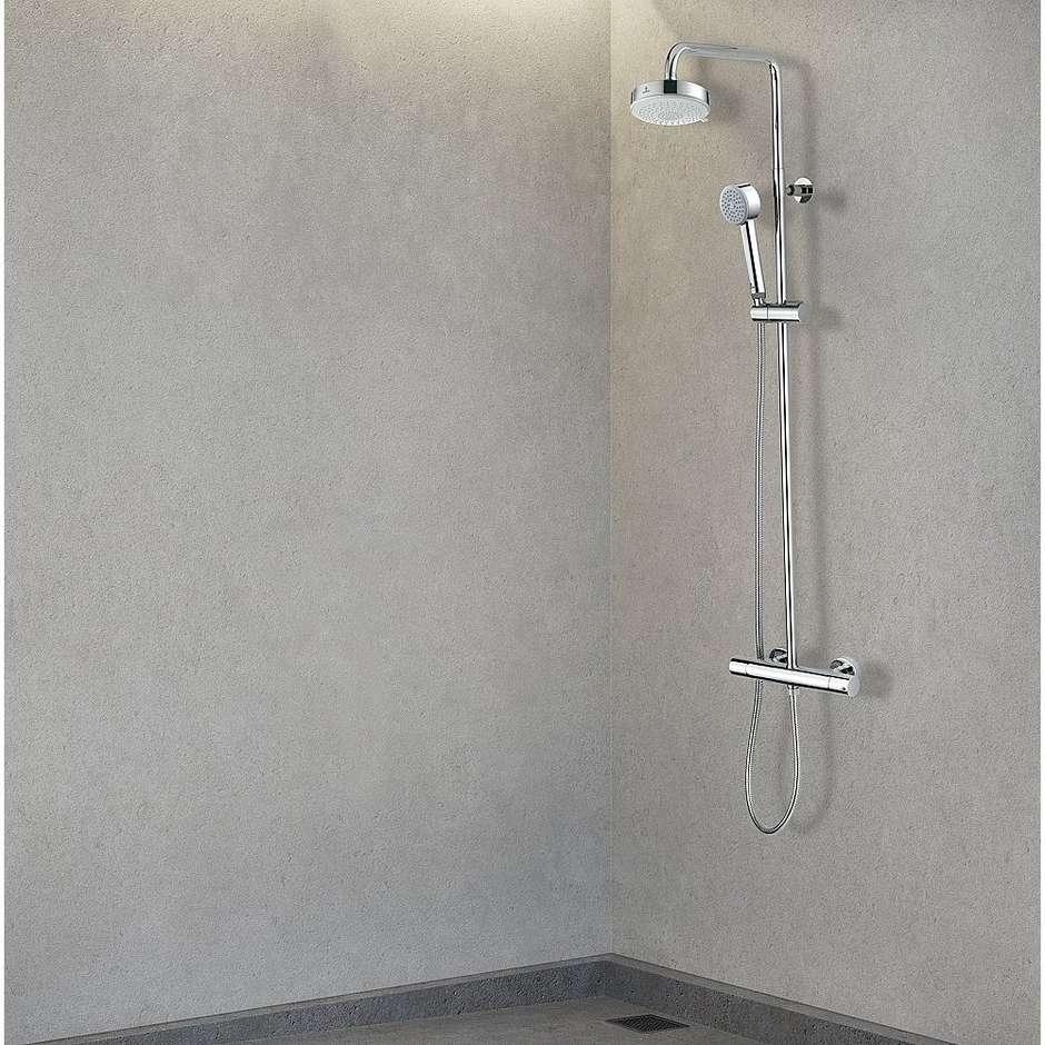 Colonna doccia a muro, miscelatore termostatico, soffione rotondo 14 cm, con flessibile antitorsione cromo - Dinamic, Bossini