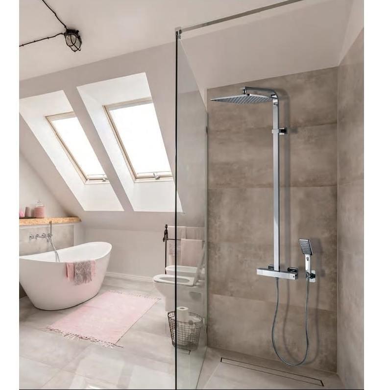Colonna doccia a muro, soffione quadrato 28x28 cm, doccetta a due getti e miscelatore termostatico - Cosmo, Bossini