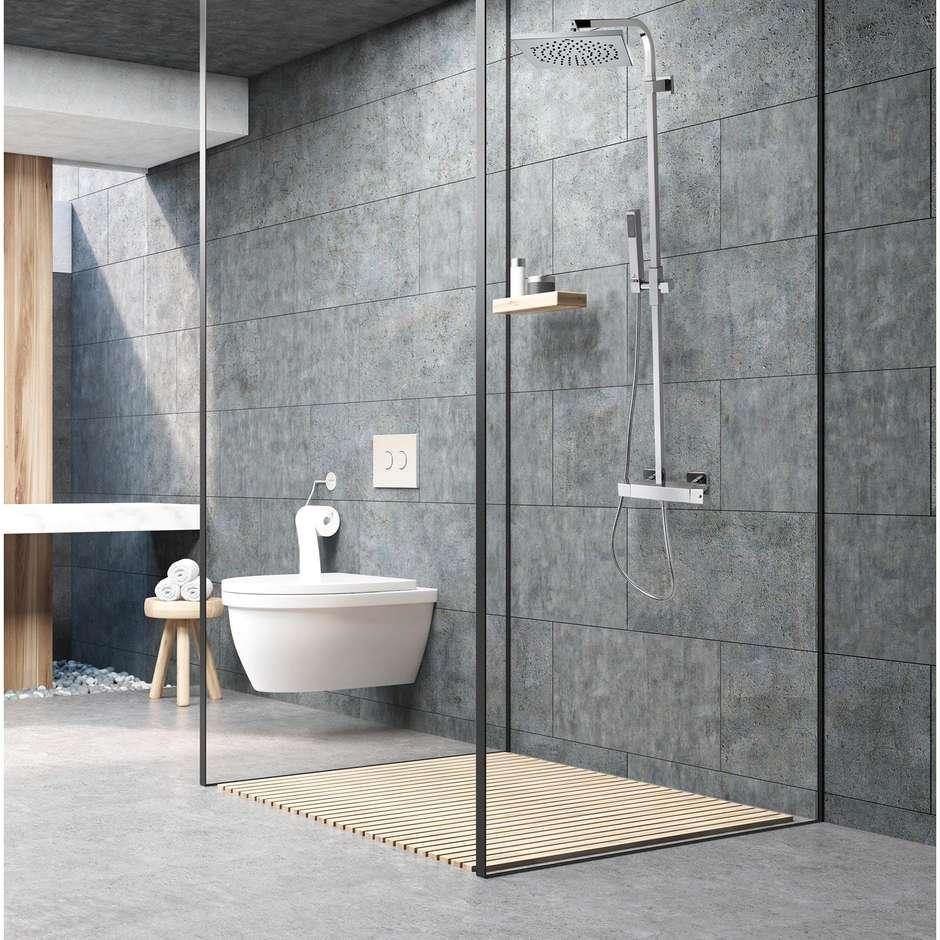 Colonna doccia a muro stile innovativo, con soffione quadrato 21x21 cm, doccetta saliscendi e miscelatore termostatico - Cosmo, Bossini