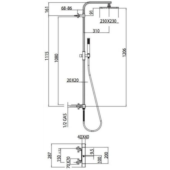 Colonna doccia a muro stile minimale, con soffione quadrato 23x23 cm, doccetta saliscendi 2 getti e miscelatore - Cosmo, Bossini