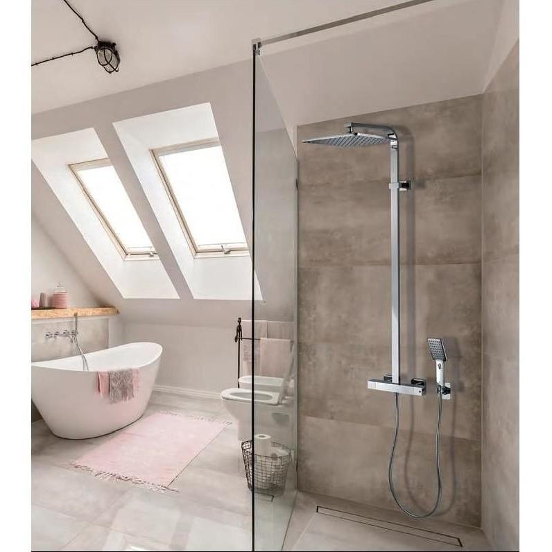 Colonna doccia a muro stile minimale, con soffione quadrato 28x28 cm, doccetta e miscelatore - Cosmo, Bossini