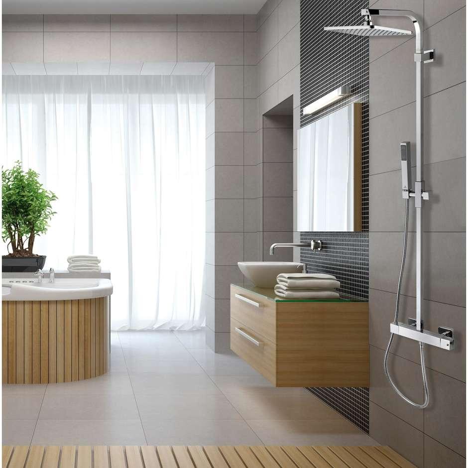 Colonna doccia a muro stile minimale, con soffione quadrato 28x28 cm, doccetta saliscendi 2 getti e miscelatore - Cosmo, Bossini