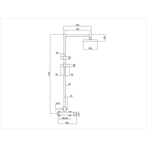Colonna doccia con soffione, doccetta di servizio e miscelatore termostatico squadrato - Tetris, Rubinetteria Bugnatese
