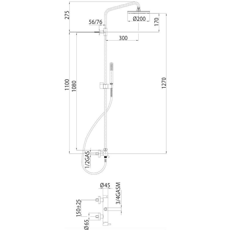 Colonna doccia cromata a muro, soffione rotondo diametro 20 cm,con asta saliscendi e miscelatore - Zoe, Bossini