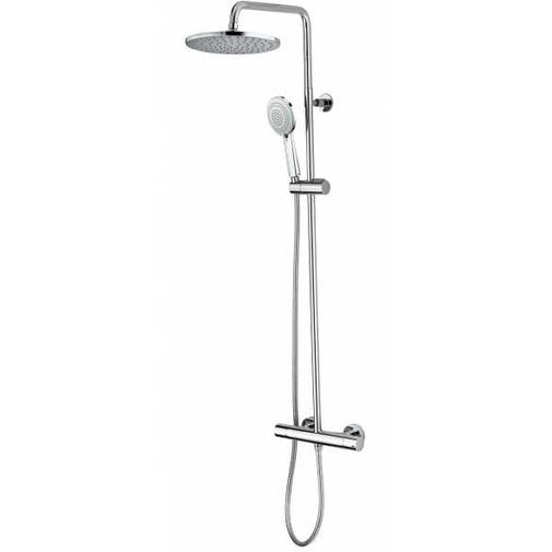 Colonna doccia cromata a muro, soffione rotondo diametro 23 cm, con asta fine saliscendi e miscelatore termostatico - Zoe, Bossini