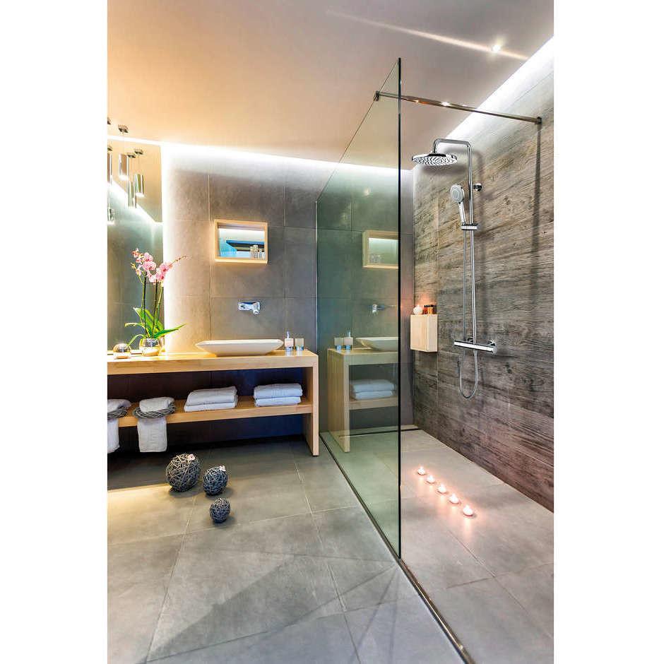 Colonna doccia cromata a muro, soffione rotondo diametro 28 cm, con asta saliscendi e miscelatore termostatico - Cosmo, Bossini