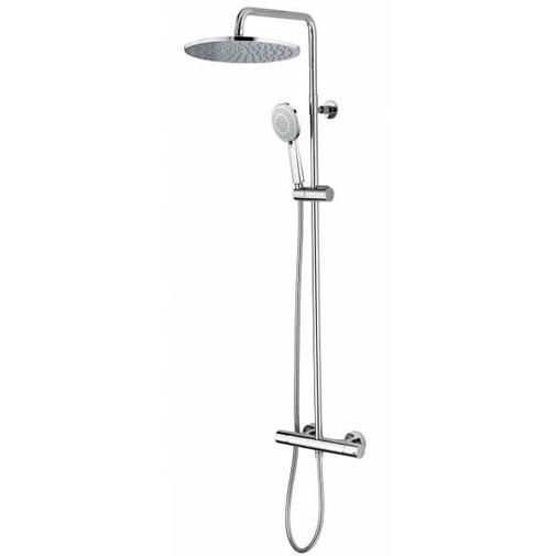 Colonna doccia cromata a muro, soffione tondo diametro 28 cm, asta fine con saliscendi, miscelatore termostatico - Cosmo, Bossini