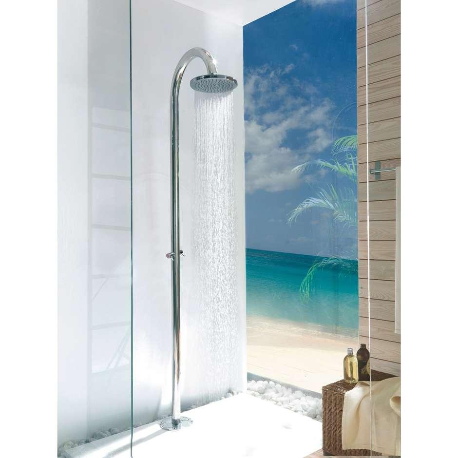 Colonna doccia da esterno in acciaio inox con soffione diametro 20 cm, rubinetto d'arresto solo acqua fredda - Oki Floor, Bossini