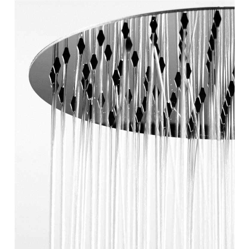 Colonna doccia da esterno in acciaio inox, con soffione diametro 30 cm, 2 rubinetti caldo-freddo -Nek, Bossini