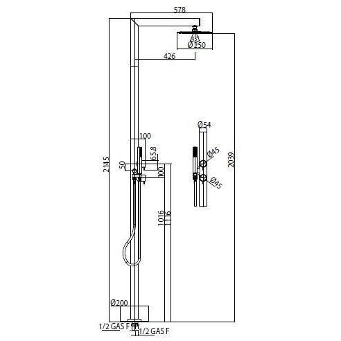 Colonna doccia da esterno in acciaio inox, con soffione rotondo diametro 25 cm, doccetta di servizio e miscelatori progressivi - Nek, Bossini