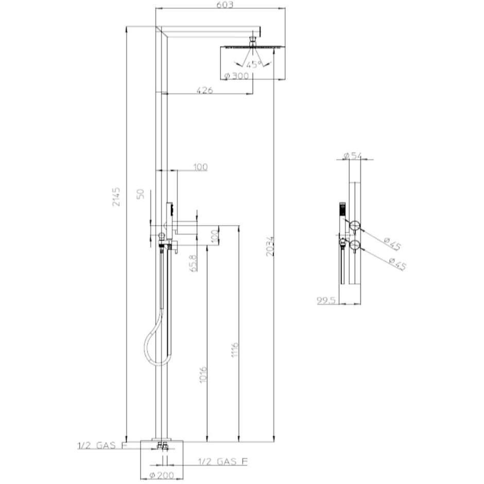 Colonna doccia da esterno in acciaio inox, con soffione rotondo diametro 30 cm, doccetta di servizio e miscelatori progressivi - Nek, Bossini