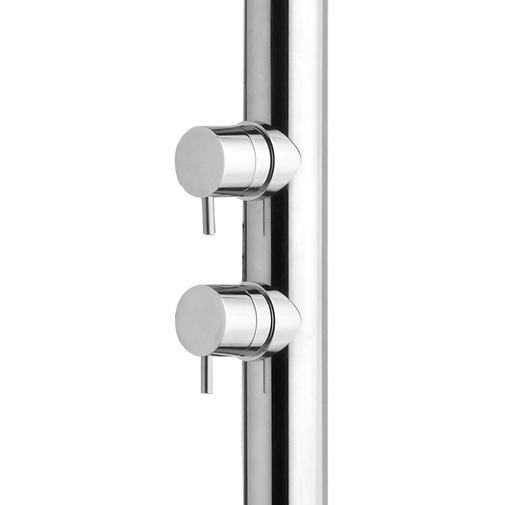 Colonna doccia da esterno in acciaio inox, con soffione rotondo diametro 30 cm, rubinetto lavapiedi e miscelatori progressivi - Nek, Bossini
