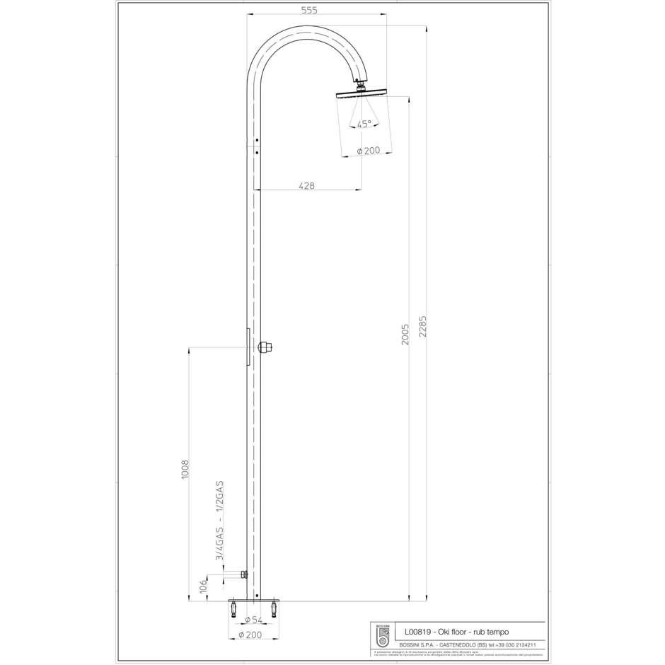 Colonna doccia da esterno in acciaio inox, con soffione tondo diametro 20 cm e rubinetto a pulsante temporizzato, alimentazione acqua esterna - Oki, Bossini