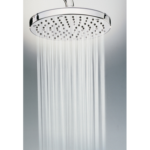 Colonna doccia da esterno in acciaio inox, con soffione tondo diametro 20 cm e rubinetto a pulsante temporizzato - Oki, Bossini