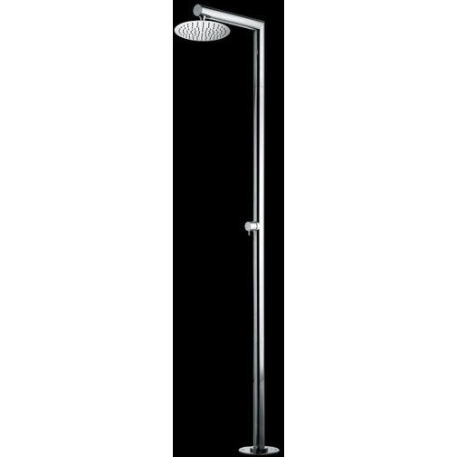 Colonna doccia da esterno in acciaio inox, con soffione tondo diametro 25 cm e miscelatore progressivo - Nek, Bossini