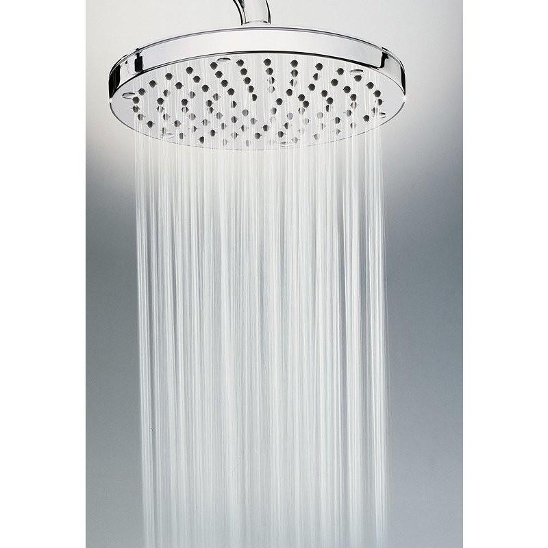 Colonna doccia da esterno in acciaio inox, con soffione tondo diametro 25 cm e miscelatore progressivo - Oki, Bossini