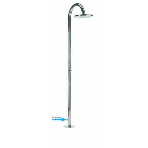 Colonna doccia da esterno in acciaio inox, con soffione tondo diametro 25 cm e rubinetto a pulsante temporizzato, alimentazione acqua esterna - Oki, Bossini