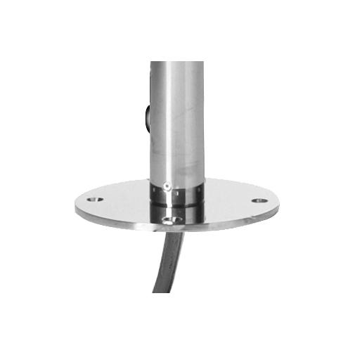 Colonna doccia da esterno in acciaio inox, con soffione tondo diametro 25 cm e rubinetto a pulsante temporizzato - Oki, Bossini