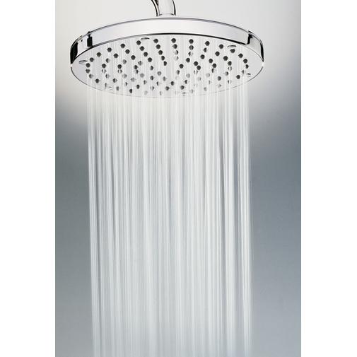 Colonna doccia da esterno in acciaio inox, con soffione tondo diametro 25 cm e rubinetto di arresto solo acqua fredda, alimentazione acqua esterna - Oki, Bossini