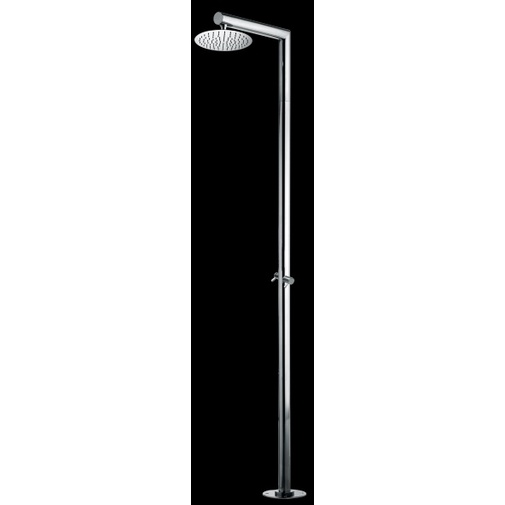 Colonna doccia da esterno in acciaio inox, con soffione tondo diametro 25, rubinetti caldo freddo - Nek, Bossini